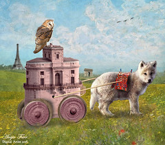 Lost in France , Monet style... (rubyblossom.) Tags: france water animals buildings painting wolf wheels monet blanket owl claude pup challenge intake mii no2 2016 rubyblossom rubystreasures