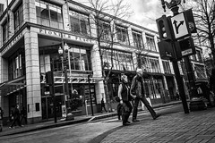 Togetherness Is Ageless (TMimages PDX) Tags: road street city people urban blackandwhite monochrome buildings portland geotagged photography photo image streetphotography streetscene sidewalk photograph pedestrians pacificnorthwest avenue vignette fineartphotography iphoneography
