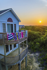 Brian_OBX 89 LG_062815_2D (starg82343) Tags: trees roof sunset vacation sun house landscape outside outdoors nc twilight northcarolina towels railing decks 2d picturesque outerbanks goldenhour eastcoast drying draped brianwallace