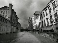 5/52 Landscape: Black and White (Squatbetty) Tags: blackandwhite contrast landscape mills saltaire westyorkshire urbanscape 552 leedsliverpoolcanal dogwood52 dogwoodweek5