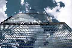 T R U M P (PH0T0NAT0R) Tags: sky chicago reflection glass clouds trumptower trump chicagodowntown