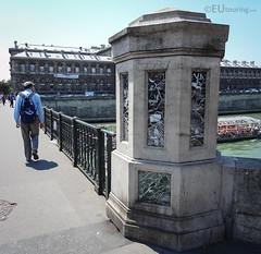 Ornate pillars of Pont d'Arcole (eutouring) Tags: travel bridge paris france detail pillar pont marble ornate pontdarcole