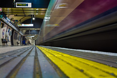 Stand clear of the yellow line (hattiebella) Tags: motion blur london lines underground subway long exposure photographer blind metro tube colourful leading yellowline hattiehall viphotograohy
