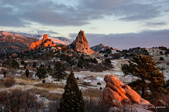 Breaking (craig goettsch) Tags: snow sunrise landscape nikon colorado rocks gardenofthegods 2016 d810