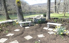 ~ If You Can't be A Stepping Stone, Then Don't Be The Stumbling  Block... (~ Cindy~) Tags: steppingstones harriman peacefulness clinchriver smallgarden onehugerockblock forsythiaonatree 2smallbenches tndavidwebbriverfrontveteranspark
