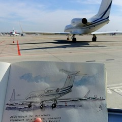 OE-IMZ (Fotero) Tags: watercolor bcn acuarela dibujo aeropuerto usk spotting avion cuaderno bizjet aviacion spotter aeronave urbansketcher cuaderno8 instagram ifttt