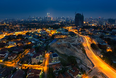 Hazy Kuala Lumpur City (gilbertchuachian_siong) Tags: city travel building tower tourism photography haze asia cityscape arch photographer exterior outdoor famous petronas twin explore malaysia destination nightview bluehour kualalumpur lightrail interest klcc wilayah a6000