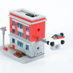 Ghostbusters Firehouse (kdangerw) Tags: house fire 1 lego ghost micro firehouse ghostbusters busters ecto moc afol ecto1