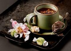 Tea (ctotir) Tags: stilllife photography candy tea drink tray studioshot foodanddrink hotdrink foodphotography colorimage foodstyling