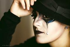 Pierrot (Chiara Mangiaracina) Tags: portrait black girl beautiful beauty dark studio sadness model eyes nikon shoot sad mask makeup 85mm lips portraiture shooting tear ritratto primopiano noire nikond90