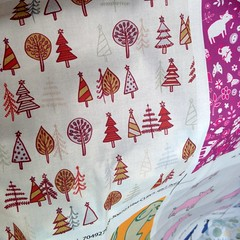 Gingerbread Trees - Gold and Rust (Cecca W) Tags: christmas xmas white gold rust pattern cream surfacedesign fabric christmastrees repeatpattern patterndesign gingerbreadtrees ceccadesigns