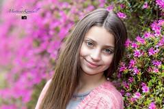 Flower Girl (MathewKendallPhotography) Tags: pink flowers portrait flower color colour girl smile female canon hair eyes purple virginiawater canon6d