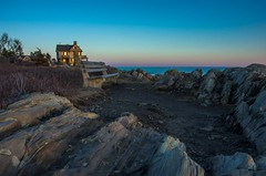 Seating Among the Rocks (massbat (moved to Maine)) Tags: sunset bench evening coast maine kennebunkport bluehour beltofvenus stonehouse