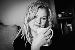 hello and good morning portrait of me :-) (Lumins) Tags: morning light blackandwhite bw woman smile 35mm germany hand tea sony dreads dreadhead