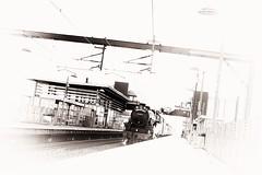 Park perpendiculars (newshot.) Tags: lines station composition zeiss speed train scotland vanishingpoint nikon graphic general patterns grain perspective shapes railway steam record abstraction framing toned tilt vignette clutter catenary buffers architectire edinburghpark black5 44871 planart1450 d700 zf2 artinbw compositionallines thegreatbritainix