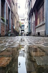 Rue Beauregard (Lige 2016) (LiveFromLiege) Tags: city reflection puddle belgium belgique pavement reflet liege luik lige patrimoine pavs ref wallonie pav lieja lttich puddlephotography liegi pitonnier puddlegram
