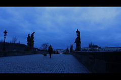 Charles Bridge Blue Hour (music_man800) Tags: city morning bridge blue winter people urban dog holiday snow cold stone clouds canon dawn early twilight moody republic czech prague cloudy outdoor walk january gimp stormy praha scene tourist most hour atmospheric edit daybreak karluv chares gimp2 700d