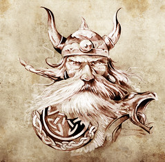 Tattoo art, sketch of a viking warrior, Illustration of an ancient wooden figurehead on a Viking longboat (noor.khan.alam) Tags: red portrait usa man black art beautiful smile face monster tattoo illustration vintage paper beard design sketch gnome spain artwork ancient colorful dragon dress graphic native head drawing background indian chief magic grunge traditional cartoon decoration feather historic retro pixie elf fairy fantasy american octopus warrior tribe viking mythology tale isolated element tatto headdress fashioned