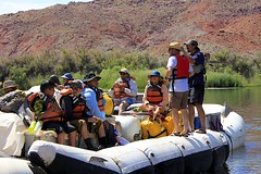 Excitement is Building (oxfordblues84) Tags: arizona people water reflections river teenagers teens tourist nativeamerican teen rafting coloradoriver raft nativeamericans leesferry whitewaterraftingtrip roadscholar roadscholartour roadscholartrip grandcanyonnationalparkexploringthenorthandsouthrims roadscholarorg