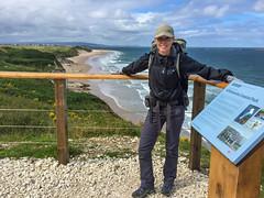 Julie as we prepare to descend to Whiterocks Coastal Park (brookscl) Tags: ireland unitedkingdom northernireland portrush ccwday3map