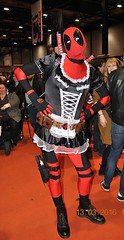 Trans Deadpool? (Kay Bea Chisholm) Tags: red white black liverpool river comics french waterfront dress expo character marvel maid comicon mersey mcm frills deadpool