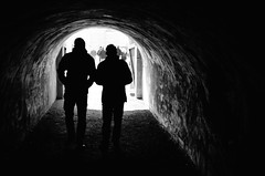 Walking into the darkness (F719D) Tags: street light people bw backlight contrast dark streetphotography tunnel