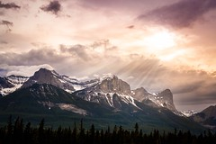 Let There Be Light. (jim.wittstrom) Tags: light sunset sky sunlight canada mountains nature clouds landscape 50mm nikon alberta canmore lightrays d700