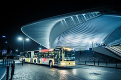 The Bus And The Station (Gilderic Photography) Tags: street city morning bus station architecture night canon belgium belgique belgie gare future rue liege nuit ville g7x liegeguillemins gilderic