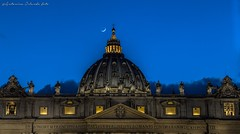 San pietro e la luna .San Pietro and the moon (antoninao) Tags: moon rome roma building saint statue architecture night clouds canon lights orlando nuvole cross outdoor mark iii luna peter cupola dome 5d luci marbles sanpietro lazio croce antonina notturno marmi 5dmarkiii
