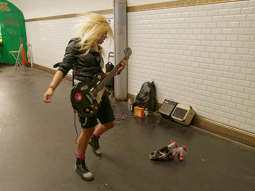 Metal girl in the parisian metro