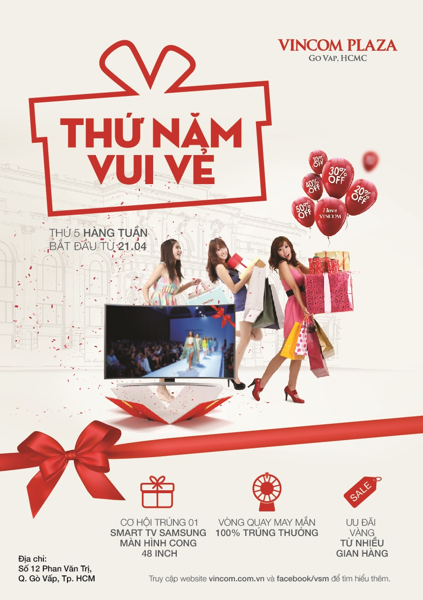 Ưu đãi vàng 'Thứ Năm Vui Vẻ' tại Vincom Plaza Gò Vấp, Tp. HCM