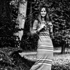 and it was summer... (j.p.yef) Tags: people bw woman smiling forest young longhair sw yef longdress peterfey jpyef