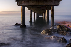 Perspectiva dimensional (J Fuentes) Tags: sea water architecture sunrise arquitectura agua rocks long exposure flickr save amanecer embarcadero rocas marbella largaexposicin pilares longexposition
