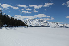 Mountains behind a frozen lake 11 (Aggiewelshes) Tags: travel winter snow mountains landscape scenery april snowshoeing wyoming jacksonhole colterbay frozenlake grandtetonnationalpark 2016 gtnp