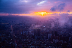 Maybe Baby (DEARTH !) Tags: travel sunset sky weather clouds skyscraper landscape colorful asia cityscape view purple taiwan taipei taipei101 viewpoint tw taipeicity dearth