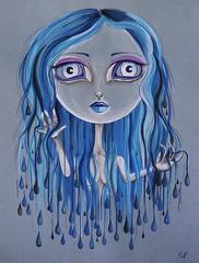 Rain (Enchanted Fields) Tags: rain illustration watercolor sketch drawing originalart surrealism magical wethair enchanted inkart aprilshowers raingirl
