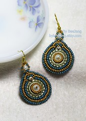 Nile Earrings (BeeJang - Piratchada) Tags: blue white bronze gold golden czech handmade embroidery antique earring seed jewelry charm bead denim pearl earrings miyuki beaded beadwork beadweaving