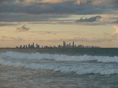 (Liseo) Tags: sunset sea sky beach clouds buildings town waves australia surfersparadise australie goldcoast 2015