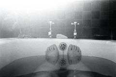 Waiting for inspiration... (Apionid) Tags: film feet monochrome rollei bath toes taps nikonfm2 day28366 retro400s 366the2016edition 3662016 28jan16