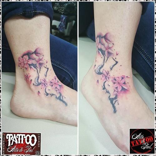 El Peque Flores Cerezo Acuarela Color Tattooarteypiel