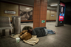 My life as a dog. Neukölln, January 2016. (joelschalit) Tags: poverty winter sleeping berlin germany subway homeless ubahn neukölln