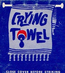 CRYING TOWEL Matchcover (hmdavid) Tags: art illustration vintage crying towel matchbook midcentury matchcover