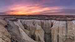 Sunrise, Ha Ho No Geh Canyon, Arizona (Cwep) Tags: light arizona panorama usa landscape location canyon hoodoo badlands sunrisesunset rockformations 2014 aspect hopireservation hahonogehcanyon