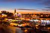 Marrakech Twilight (sampollittphoto) Tags: africa travel sunset sky people orange tourism clouds square twilight colours market outdoor dusk stall mosque morocco marrakech medina destination marrakesh jemaa djemaaelfna lakoutoubia