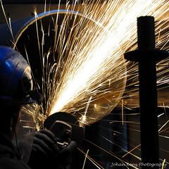 Industrial Welding, 2013 (Johan Konz) Tags: plant industry industrial mask steel welding pipe gloves sparks craftsman grinder assembly skilled