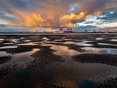 At the Edge of the Land (Fin Wright) Tags: ocean blue light sunset sea sky orange beach water liverpool docks canon river ian puddle ship pools perch fin mersey newbrighton merseyside ianwright perchrock finwright g1x finwrightphotographycouk g1xmkii