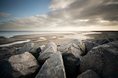 Skegness Shoreline (djshoo) Tags: sea beach water clouds coast sand rocks tide lincolnshire
