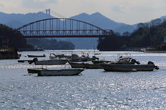 Inlet (Teruhide Tomori) Tags: bridge sea water japan island boat ship afternoon hiroshima shore  inlet  japon strait onomichi        mukaijimabridge iwakojimaisland