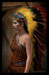 Indian Princess (FimRay) Tags: girls people woman painterly art texture girl beauty bike festival female asian thailand effects grunge feathers feather canvas thai biker effect textured americanindian pattaya headdress 2016 burapha painterley
