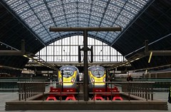 Eurostar Valero E320 Units, St Pancras International, London. (ManOfYorkshire) Tags: roof london ice glass station electric train eurostar tunnel channel stops chunnel units valero buffers e320 stpancrasinternational
